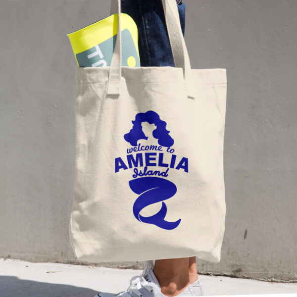 Welome to Amelia Mermaid Bull Denim Cotton Tote Beige