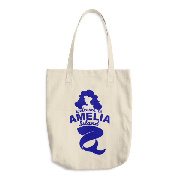 Welome to Amelia Mermaid Bull Denim Cotton Tote Front Beige
