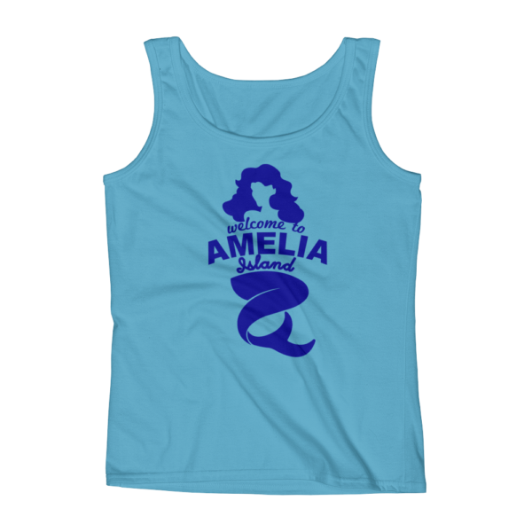 Welome to Amelia Mermaid Missy Fit Tank-Top Caribbean-Blue Blue Text