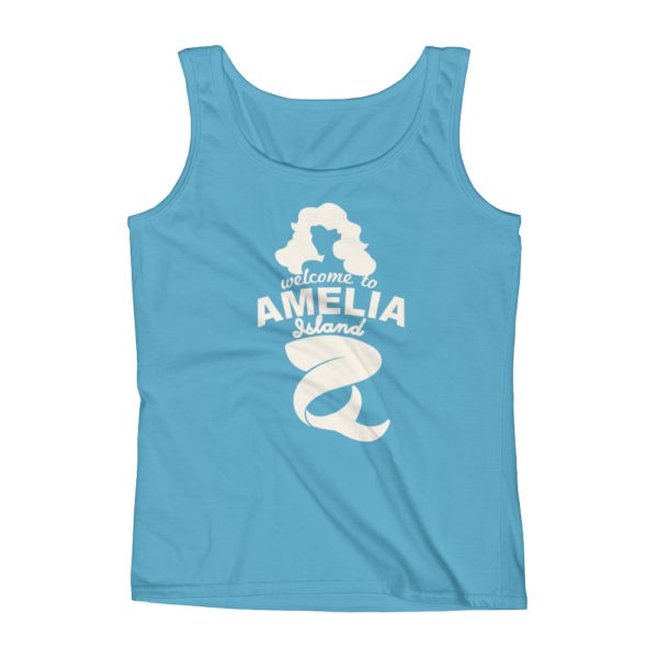 Welome to Amelia Mermaid Missy Fit Tank-Top Caribbean-Blue Cream Text