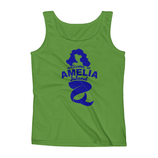 Welome to Amelia Mermaid Missy Fit Tank-Top Green-Apple Blue Text