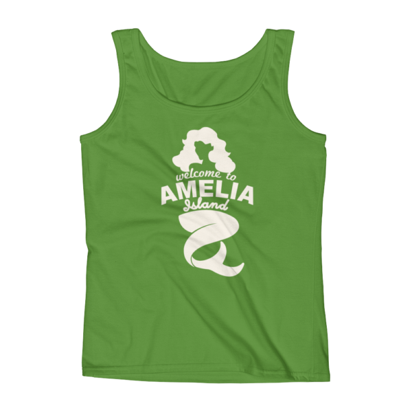 Welome to Amelia Mermaid Missy Fit Tank-Top Green-Apple Cream Text