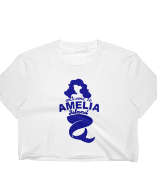 Welome to Amelia Mermaid Short Sleeve Cropped T-Shirt White