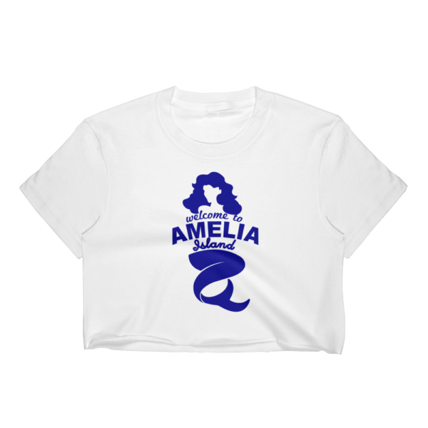 Welome to Amelia Mermaid Short Sleeve Cropped T-Shirt White