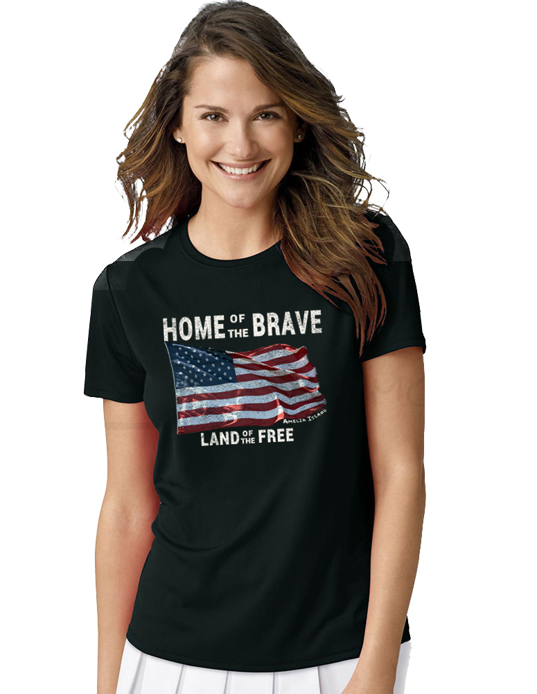 Girl wearing 'Home of the Brave - Land of the Free' black T-Shirt