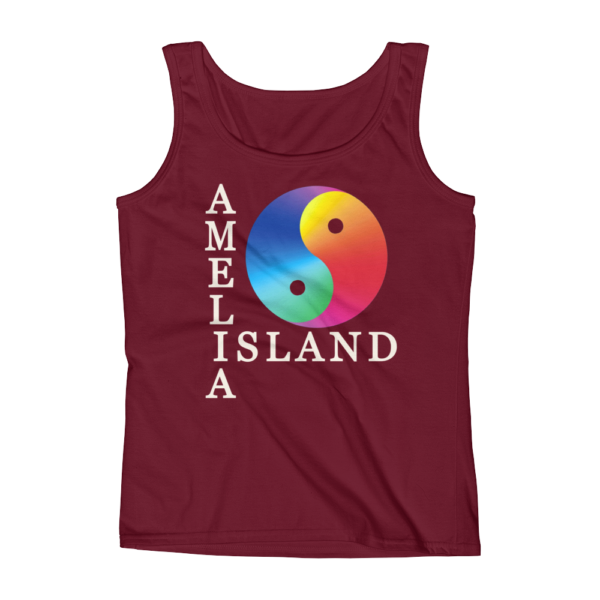 Yin Yang Missy Fit Tank-Top Independence-Red