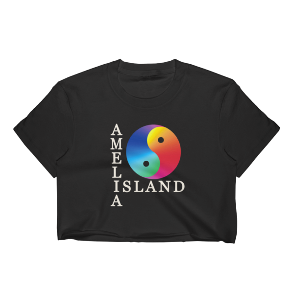 Yin & Yang Short Sleeve Cropped T-Shirt Black